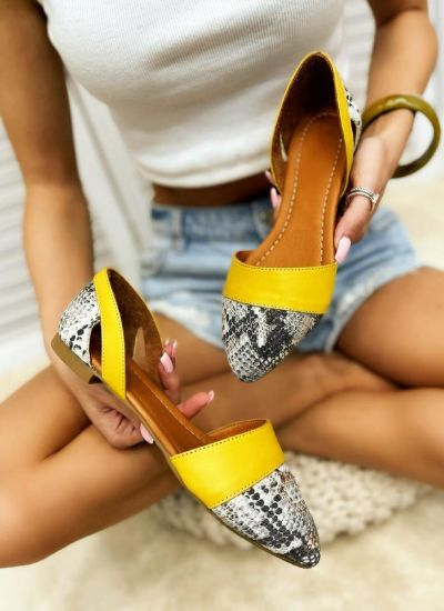 Leather ballet flats TEODORA - YELLOW
