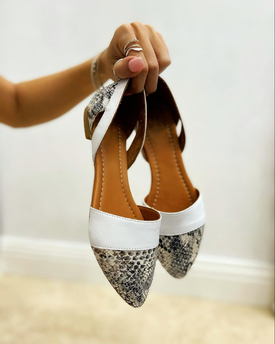 LEATHER SNAKE OPEN FLATS - WHITE