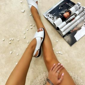 Leather sandals SOFIA - WHITE