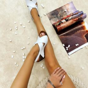 Leather sandals MARGARITA - WHITE