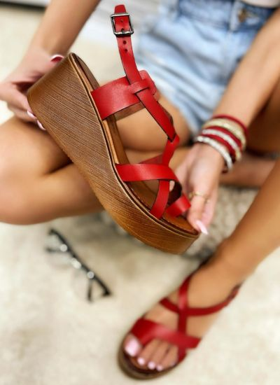 Leather sandals MAGDALENA - RED