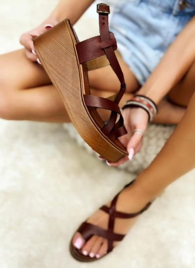Leather sandals MAGDALENA - BROWN
