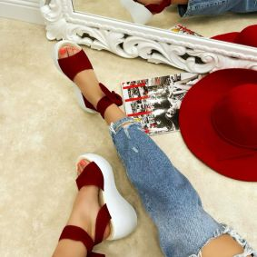 VELOUR LACE UP PLATFORM SANDALS - RED