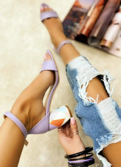 SANDALS WITH COLORFUL BLOCK HEEL - PURPLE