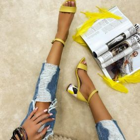 SANDALS WITH COLORFUL BLOCK HEEL - YELLOW