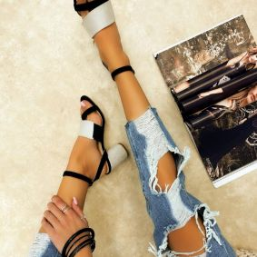 VELOUR SANDALS WITH BELTS AND BLOCK HEEL - GRAY