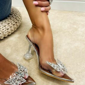 TRANSPARENT SANDALS WITH ZIRCONS - SILVER