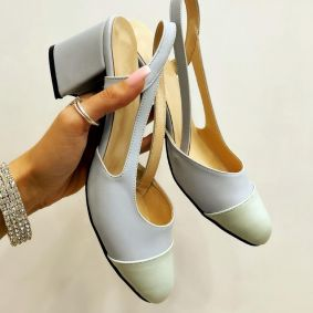 THICK HEEL SANDALS - BLUE