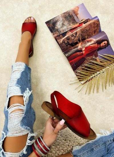 FLAT SANDALS - RED