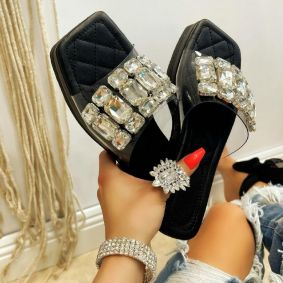 HIGH SOLE MULES WITH ORNAMENTS - BLACK