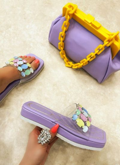 HIGH SOLE MULES WITH ORNAMENTS - PURPLE