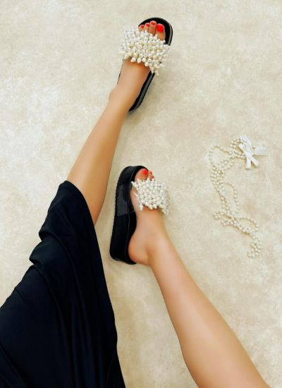 HIGH SOLE MULES WITH PEARLS - BLACK