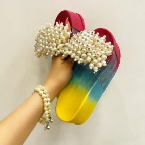 COLORFUL HIGH SOLE MULES WITH PEARLS