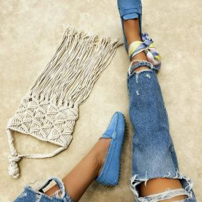 Leather moccasins TARA - BLUE