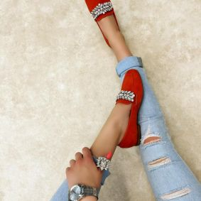 FLATS WITH ORNAMENTS - ORANGE
