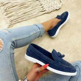 Leather moccasins JEFIMIJA - BLUE