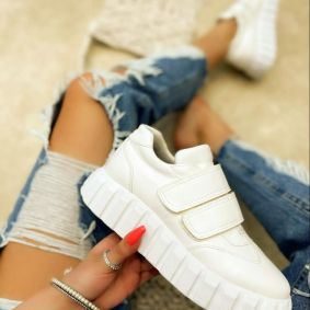 HIGH SOLE SNEAKERS WITH VELCRO BAND - WHITE