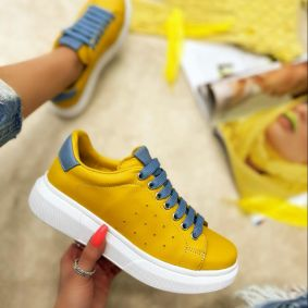 Leather sneakers BARBARA - YELLOW