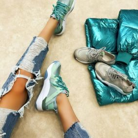 NEOPRENE HIGH SOLE SNEAKERS - MINT