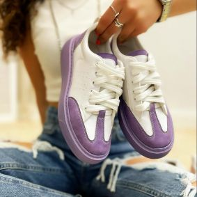 LACE UP SNEAKERS - WHITE/PURPLE