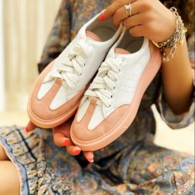 LACE UP SNEAKERS - WHITE/ROSE