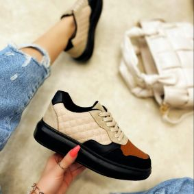 SAW SNEAKERS WITH HIGH SOLE - CAMEL/BLACK