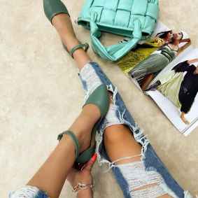 OPEN FLATS WITH BELT - GREEN