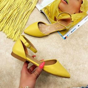 OPEN FLATS WITH BELT - YELLOW