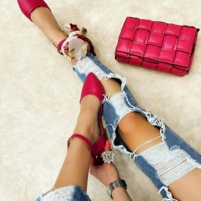 OPEN FLATS WITH BELT - PINK