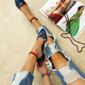 PRINTED FLATS - RED/BLUE