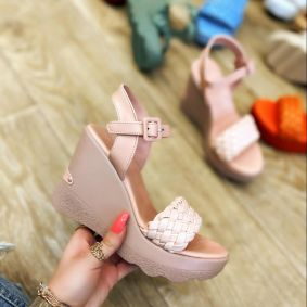 KNITTED WEDGE SANDALS - ROSE