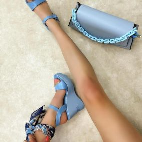WEDGE SANDALS - BLUE