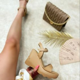WEDGE SANDALS - DARK BEIGE