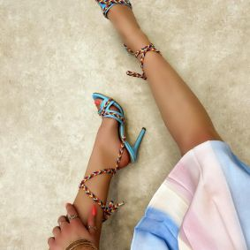 LACE UP SANDALS THIN HEEL - BLUE