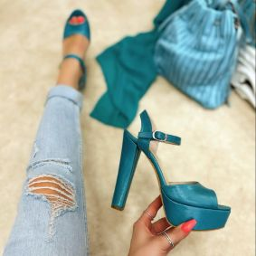 PLATFORM SANDALS WITH THICK HEEL - TORQUISE