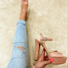 PLATFORM SANDALS WITH THICK HEEL - ROSE