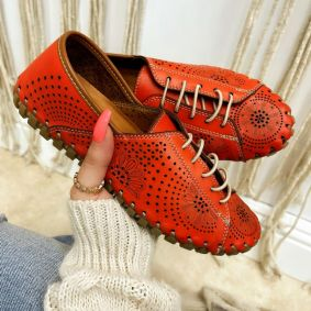 Flat leather shoes ERIKA - ORANGE