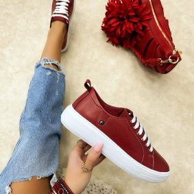 Leather sneakers AFEYA - RED