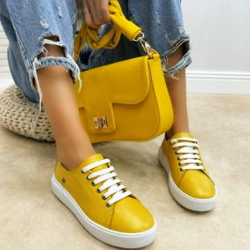 Leather sneakers AFEYA - YELLOW