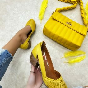 Leather high-heels MANIKA - YELLOW