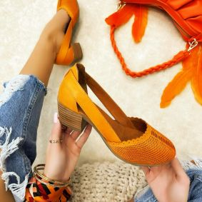 Leather high-heels MANIKA - ORANGE