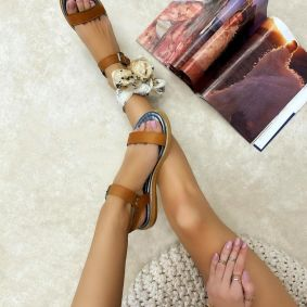 Leather sandals HAILEY - CAMEL