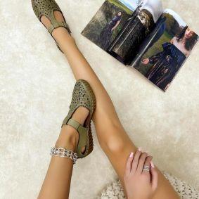Kožne sandale GENA - ZELENA