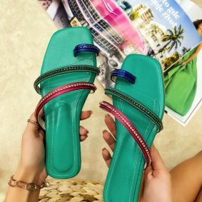 Women Slippers NAMI - TURQUOISE
