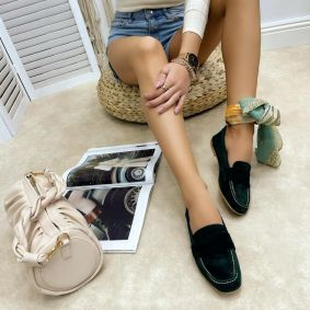 Leather ballet flats EKTA - GREEN