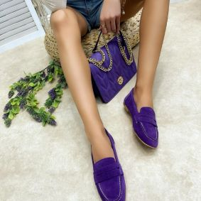 Leather ballet flats EKTA - VIOLET