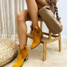 Leather summer boots ANKA - OCHRE