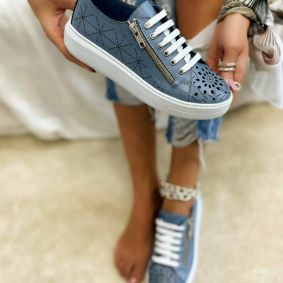 Leather sneakers SARAH - BLUE