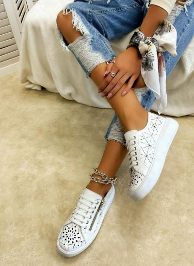 Leather sneakers SARAH - WHITE