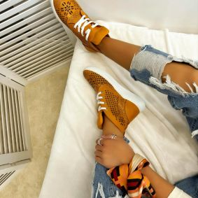 Leather sneakers KENNEDY - ORANGE